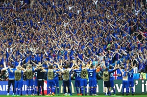 Iceland's players and fans celebrate.