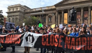 Protesters in Melbourne on Saturday 27 August 2016 calling for immigration detention centres on Nauru and Manus Island to close. Thousands of protesters gathered in cities across Australia calling for an end to Australia's offshore detention regime in the wake of the publication of the Nauru files.