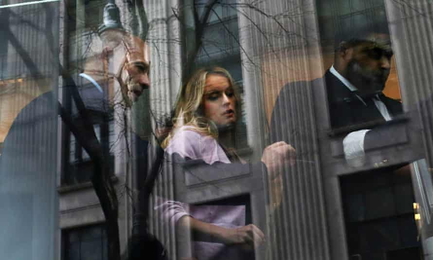 Stormy Daniels arrives southern district of New York courthouse for a hearing related to Michael Cohen, April 2018.