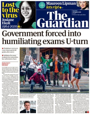 Guardian front page, Tuesday 18 August 2020