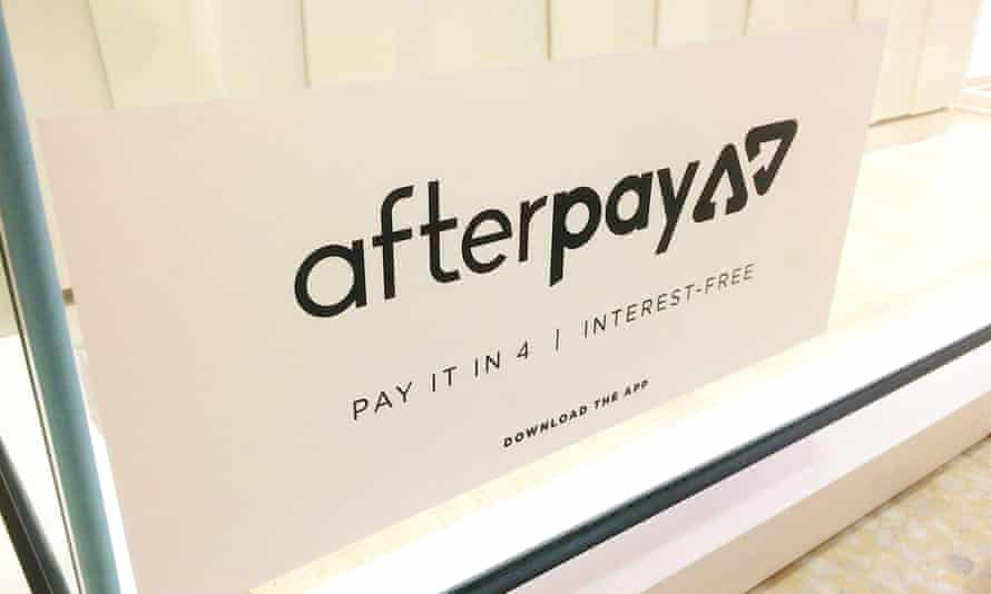 An Afterpay logo in a Queensland shop window