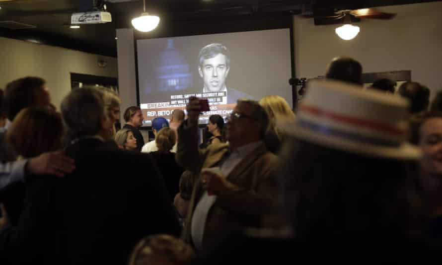 Beto O'Rourke is seen on a television during a Democratic watch party following the Texas primary election Tuesday in Austin.
