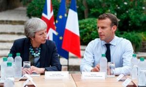 Theresa May and Emmanuel Macron at Fort Brégançon