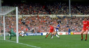 Craig Johnston of Liverpool scores their second goal.