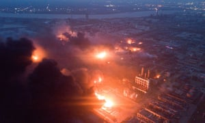 Smoke billows from the Tianjiayi Chemical factory after an explosion on Thursday that left many people dead.