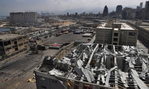 A general view of the site of the 4 August explosion that hit the seaport of Beirut, Lebanon