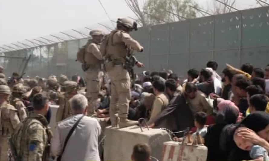 US Marines are seen amid chaos at Hamid Karzai International Airport in Kabul.