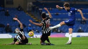 Newcastle United's Jonjo Shelvey (left) blocks a shot from Chelsea's Marcos Alonso.