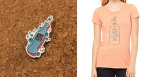 Now Fizzing merchandise available for sale. (Pin designed by Modern Hobo, shirt designed by Greg Harrison.)