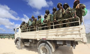 African Union Mission in Somalia (AMISOM) peacekeepers from Burundi on patrol near Mogadishu in 2012.