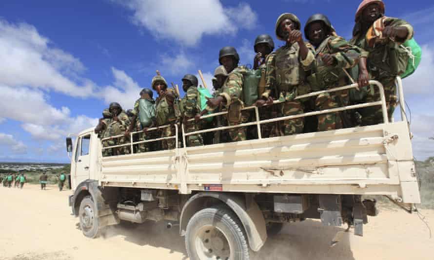 African Union Mission in Somalia (AMISOM) peacekeepers from Burundi on patrol near Mogadishu in 2012.