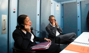 Rice and Obama at a US mission in Cuba receiving an update on a terrorist attack in Belgium.