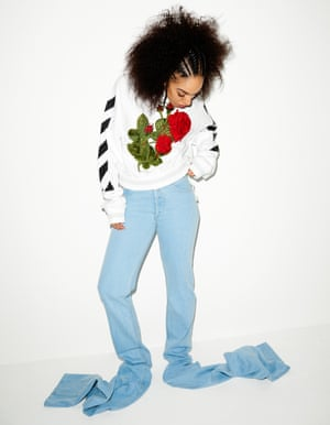 Pearl Mackie: Jumper £420, Off White, and jeans £300, Y-Project, both brownsfashion.com.