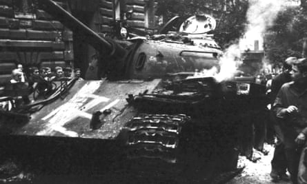 A Warsaw Pact tank daubed with a swastika.