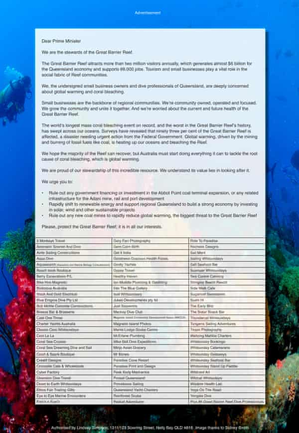 The letter published in the Mackay Daily Mercury signed by tourism operators concerned about the destruction of the Great Barrier Reef