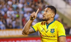 Israel Folau of Australia celebrates during the 2018 Rugby Union Championship game