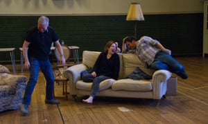 Steve Pemberton (Brian), Katherine Parkinson (Eleanor) and Rufus Jones (Richard) in rehearsal for Dead Funny.