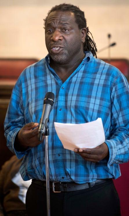 Bristol's poet laureate, Miles Chambers, reads a tribute poem