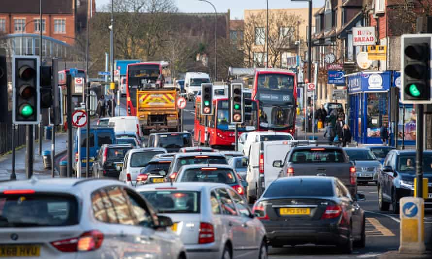 General view of traffic on the A205 south circular road in Lewisham, south London.