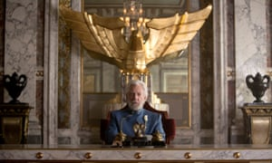 Donald Sutherland as President Snow in a scene from The Hunger Games: Mockingjay Part 1.