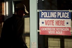 A man walks into a polling location in Arlington, Virginia on 1 March 2016.