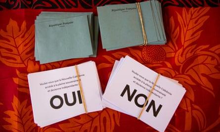 Referendum ballots on the Ile Ouen, New Caledonia. Independence referendum October 4 2020