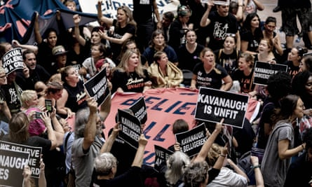 Protests against Brett Kavanaugh in the Senate Hart office building, Washington DC, 4 October 2018.