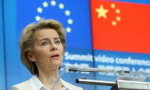 The European Commission president, Ursula von der Leyen, against a backdrop of the EU and Chinese flags