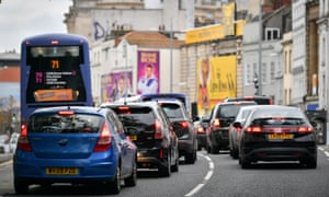 Traffic queues in on St Augustine's Parade in Bristol City centre