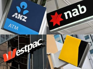A composite image of signage of Australia's 'big four' banks ANZ, Westpac, the Commonwealth Bank (CBA) and the National Australia Bank (NAB) signage