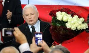 Jarosław Kaczyński, leader of Poland's Law and Justice party, on election night.