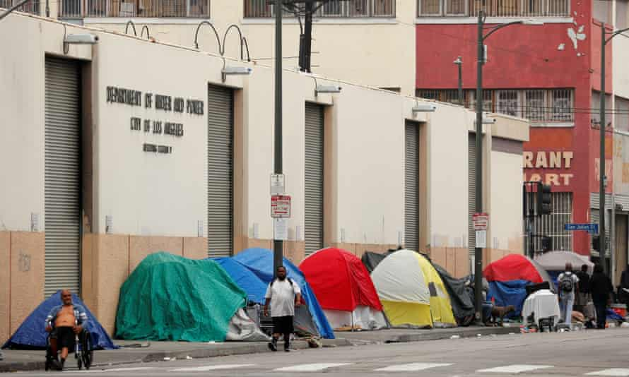 A homeless encampment in Downtown LA's Skid Row neighbourhood.