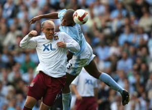 24 August 2008: Two days later, Kompany is battling with West Ham's Dean Ashton on his debut.
