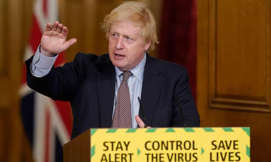 Boris Johnson, during a media briefing in Downing Street, London