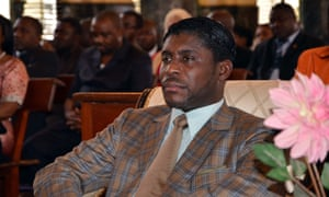 Teodorin Obiang at Malabo's Cathedral during a mass to celebrate his 41st birthday.