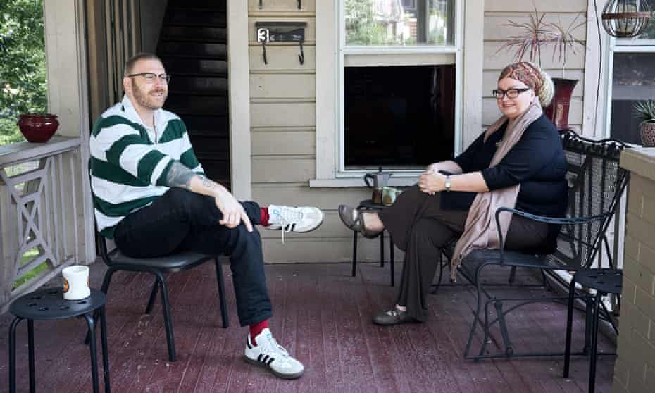 Cate M Ruane (right) and her upstairs neighbour, on their shared porch in Asheville, North Carolina.