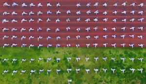Rong'an, China A geometric take on fitness: A drone shot of people performing tai chi in Guizhou on National Fitness Day, which marks the anniversary of the opening of the 2008 Beijing Olympic Games