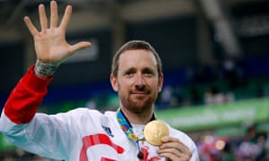 Sir Bradley Wiggins with his gold medal following victory in the men's team pursuit final on the seventh day of the Rio Olympics.