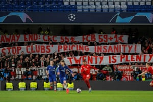 The Bayern fans protest at ticket prices.