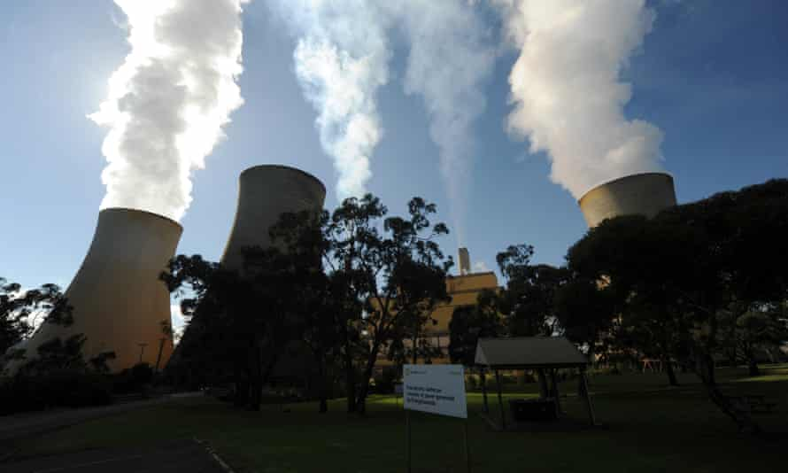 Steam billows from the cooling towers of the Yallourn coal-fired power station in Victoria's Latrobe Valley.