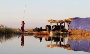 An Iraqi Marsh Arab paddles her boat at the Chebayesh marsh in Nassiriya.