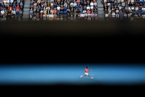 Nadal in action watched by a full house at Rod Laver Arena