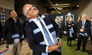 Scott Morrison at the State of Origin match on Sunday in Perth. Morrison's approval rating has jumped five points since the election