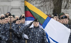 Lithuanian soldiers attend a celebration on Armed Forces Day.