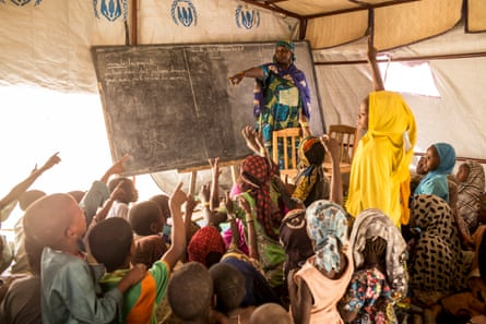 Temporary school in the refugee camp of Kabelewa