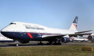 A British Airways Boeing 747 aircraft at Bournemouth airport