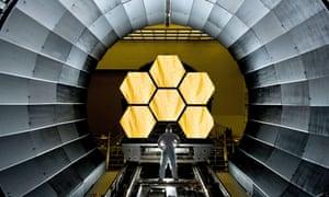 Nasa engineer Ernie Wright looks at the James Webb space telescope