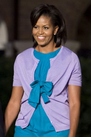 Cardigan prowess: Michelle Obama.