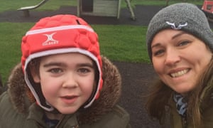 Alfie Dingley with his mother Hannah Deacon.