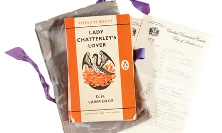 The copy of Lady Chatterley's Lover owned by Judge Byrne, with the damask bag and list made by his wife Lady Dorothy Byrne.